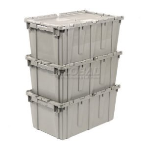 plastic moving boxes stacked 3 high