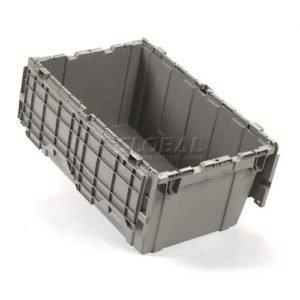 single open plastic moving box